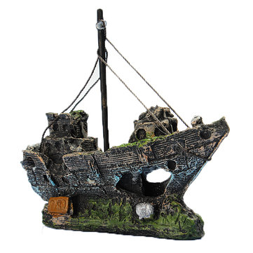Resin Fishing Boat Aquarium Ornament Decoration For Fish Tank